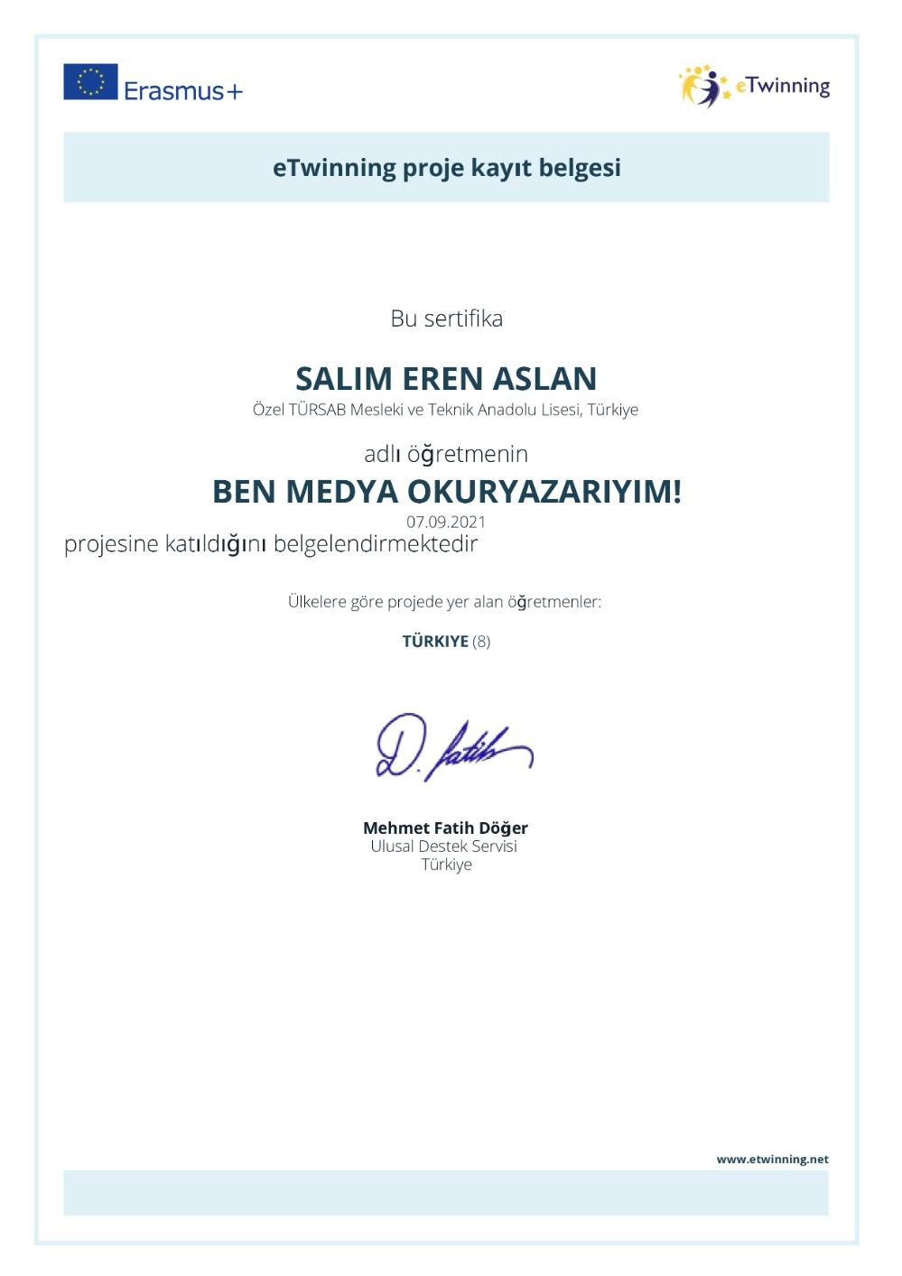 """Okul Müdürümüz Salim Eren ASLAN """"Ben Medya Okuryazarıyım!"""" eTwinning Projesine Dahil Oldu"""